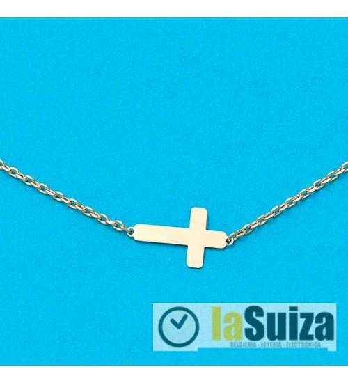 Cadena + Colgante con cruz en Oro de 18 Kl