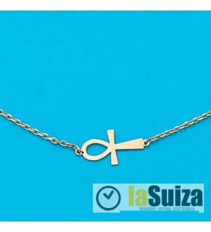 Cadena + Colgante con Cruz de la Vida en Oro de 18 Kl